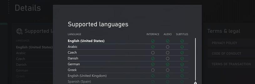 Xbox Store ukáže detaily lokalizace a bude se řídit preferovaným jazykem hráče